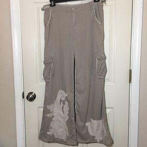 Da-Nang Tan Silk Blend Wide Leg Design Cargo Pants
